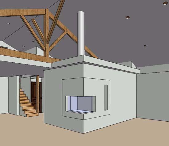 Pour un foyer fermer sous un plafond cathédrale